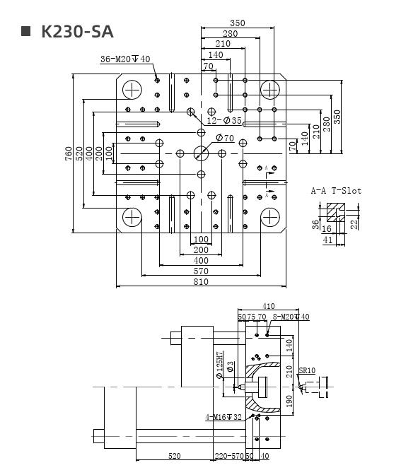 K230 mold platen drawing